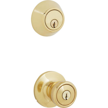 Picture of Steel Pro Polished Brass Deadbolt and Door Knob Combo