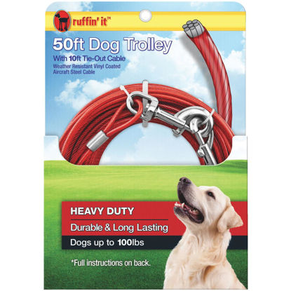 Picture of Westminster Pet Ruffin' it 50 Ft. Red Steel Dog Cable Trolley
