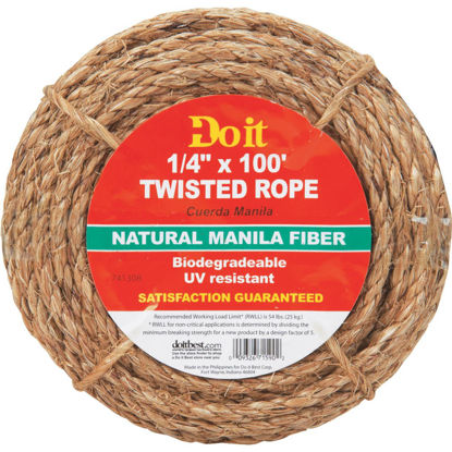 Picture of Do it 1/4 In. x 100 Ft. Natural Twisted Manila Fiber Packaged Rope