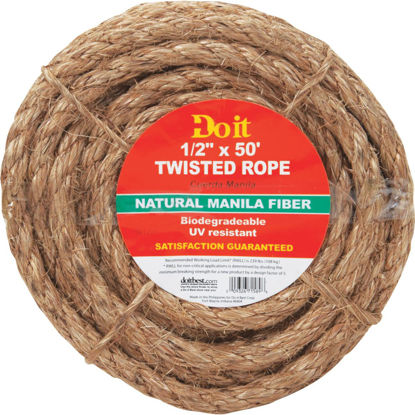 Picture of Do it 1/2 In. x 50 Ft. Natural Twisted Manila Fiber Packaged Rope