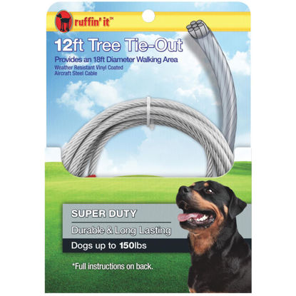 Picture of Westminster Pet Ruffin' it Tree Tie-Out Cable For Extra Large Dogs, 12 Ft.