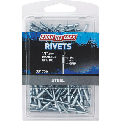 Picture of Channellock 1/8 In. Dia. x 1/4 In. Grip Steel Multigrip POP Rivet (100-Pack)
