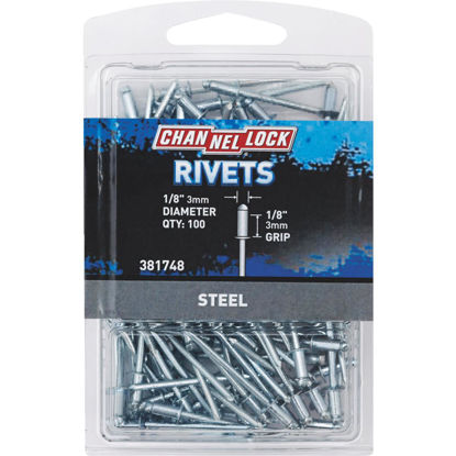 Picture of Channellock 1/8 In. Dia. x 1/8 In. Grip Steel Multigrip POP Rivet (100-Pack)