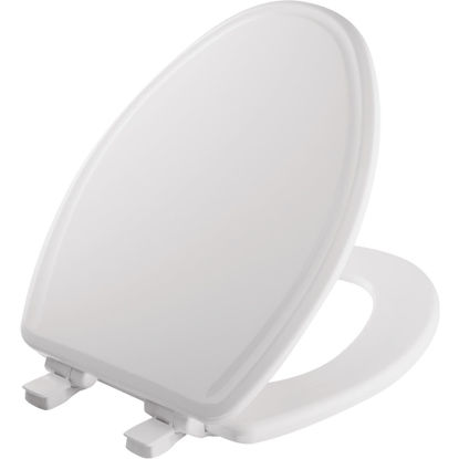 Picture of Mayfair Elongated Closed Front Slow-Close STA-TITE White Wood Toilet Seat