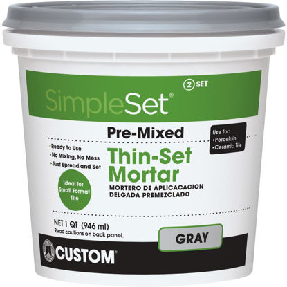 Picture of Custom Building Products SimpleSet Quart Gray Pre-Mixed Thin-Set Mortar