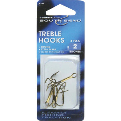 Picture of SouthBend Size 2 Bronze Treble Fishing Hook (4-Pack)
