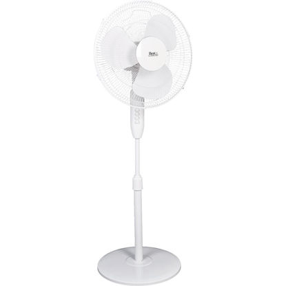 Picture of Best Comfort 16 In. 3-Speed Extends to 49 In. H. White Oscillating Pedestal Fan
