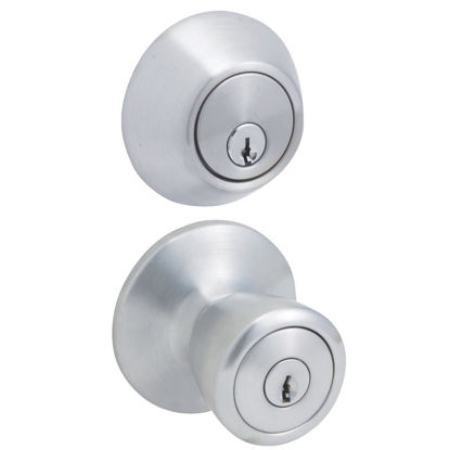 Picture of Steel Pro Satin Chrome Deadbolt and Door Knob Combo