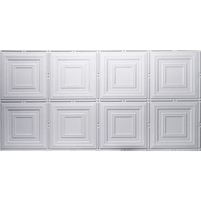 Picture of Dimensions 2 Ft. x 4 Ft. White 12 In. Square Pattern Tin Look Nonsuspended Ceiling Tile & Backsplash