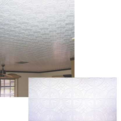 Picture of Dimensions 2 Ft. x 4 Ft. White 12 In. Circle/Square Pattern Tin Look Nonsuspended Ceiling Tile & Backsplash