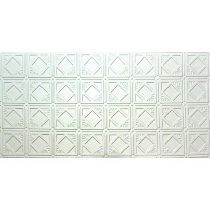 Picture of Dimensions 2 Ft. x 4 Ft. White 6 In. Diamond Pattern Tin Look Nonsuspended Ceiling Tile & Backsplash