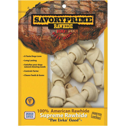 Picture of Savory Prime Knotted 4 In. to 5 In. Rawhide Bone (10-Pack)