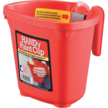 Picture of HANDy Paint Cup 1 Pint Red Painter's Bucket with Hand Rest and Magnetic Brush Holder