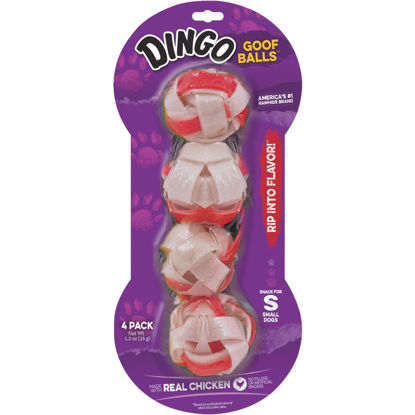 Picture of Dingo Goof Balls Chicken Braided Ball 1.5 In. Rawhide Chew, 4-Pack