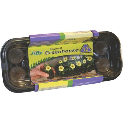 Picture of Jiffy 12-Pellet Windowsill Greenhouse Seed Starter Kit