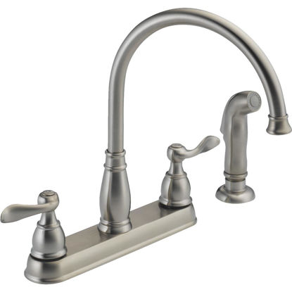 Picture of Delta Windemere Dual Handle Lever Kitchen Faucet with Side Spray, Stainless