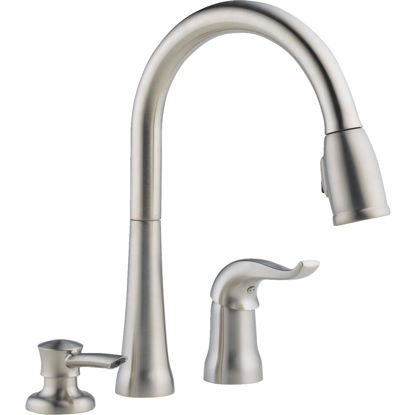 Picture of Delta Kate Single Handle Lever Pull-Down Kitchen Faucet with Soap Dispenser, Stainless