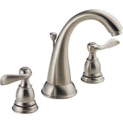 Picture of Delta Windmere Stainless 2-Handle Lever 6 In. to 16 In. Widespread Bathroom Faucet with Pop-Up