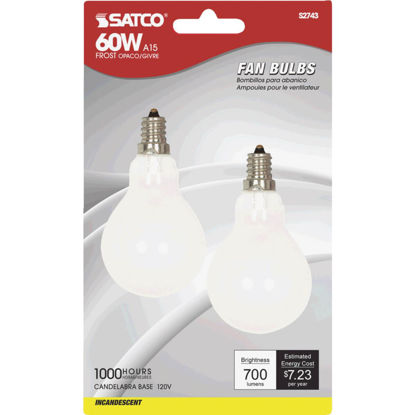Picture of Satco 60W Frosted Soft White Candelabra A15 Incandescent Ceiling Fan Light Bulb (2-Pack)