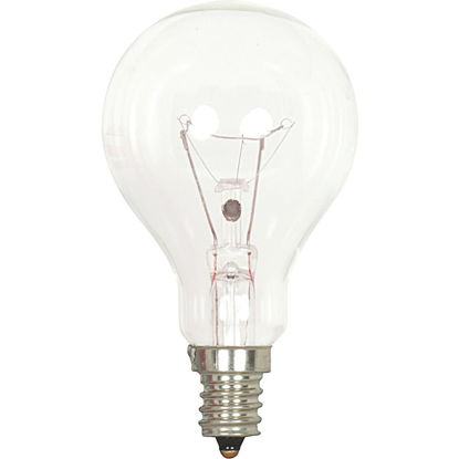 Picture of Satco 60W Clear Candelabra A15 Incandescent Ceiling Fan Light Bulb (2-Pack)