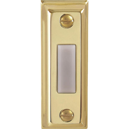 Picture of IQ America Wired Polished Brass Rectangular Design Lighted Doorbell Push-Button