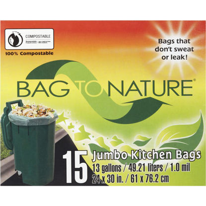 Picture of Bag-To-Nature 13 Gal. Compostable Green Trash Bag (15-Count)