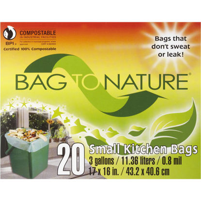 Picture of Bag-To-Nature 3 Gal. Compostable Green Trash Bag (20-Count)