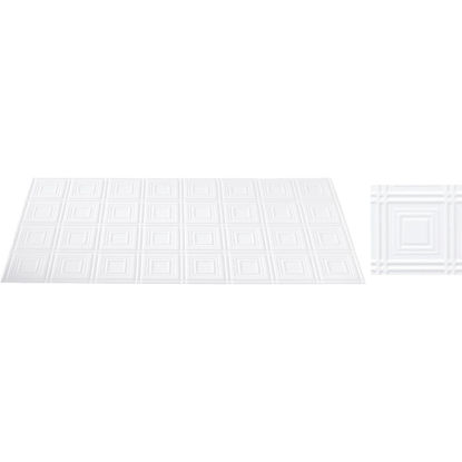 Picture of Dimensions 2 Ft. x 4 Ft. White 6 In. Square Pattern Tin Look Nonsuspended Ceiling Tile & Backsplash