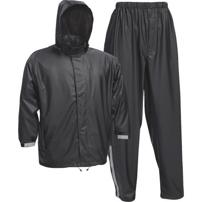 Picture of West Chester Large 3-Piece Black Polyester Rain Suit