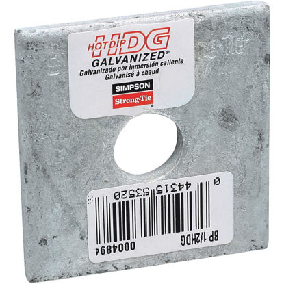 Picture of Simpson Strong-Tie 1/2 in. x 2 in. x 3/16 in. Steel Hot Dipped Galvanized Bearing Plate