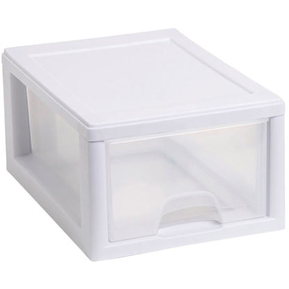 Picture of Sterilite 8 In. x 6 In. x 12 In. 7 Quart White Stackable Storage Drawer