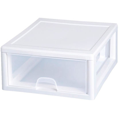 Picture of Sterilite 14 In. x 6 In. x 17 In. 16 Quart White Stackable Storage Drawer