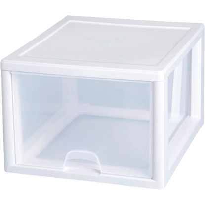 Picture of Sterilite 14 In. x 10.25 In. x 17 In. 27 Quart White Stackable Storage Drawer