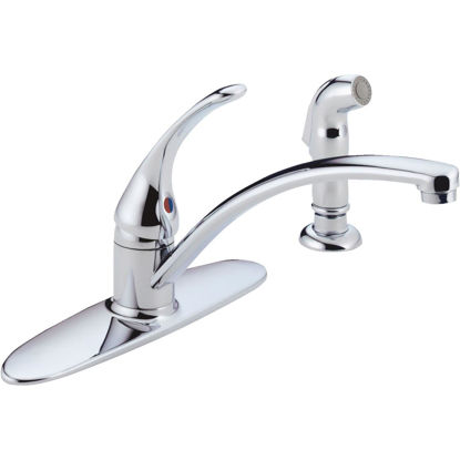 Picture of Delta Foundations Single Handle Lever Kitchen Faucet with Side Spray, Chrome
