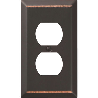 Picture of Amerelle 1-Gang Stamped Steel Outlet Wall Plate, Aged Bronze