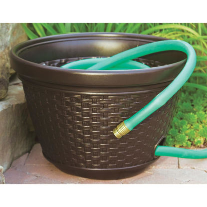 Picture of Suncast 100 Ft. Brown Resin Wicker Hose Pot