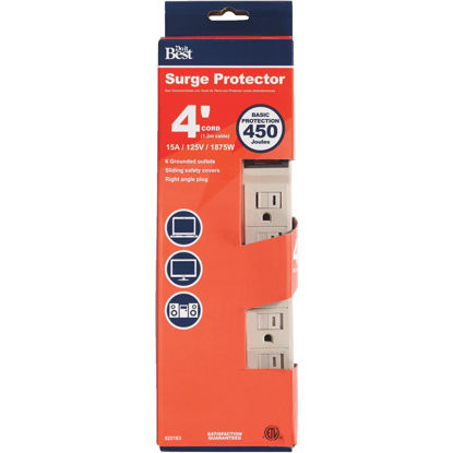 Picture of Do it Best 6-Outlet 1060J Tan Power Surge Strip with 4 Ft. Cord