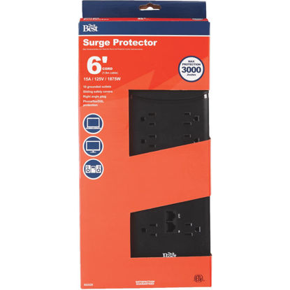 Picture of Do it Best 10-Outlet 3000J Black Surge Protector Strip with Phone Line Protection & 6 Ft. Cord