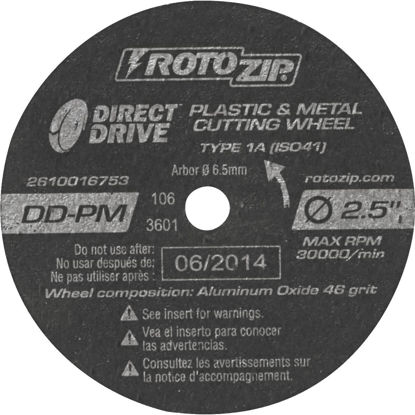 Picture of Rotozip Direct Drive 2-1/2 In. 30,000 rpm Plastic and Metal Cutting Wheel