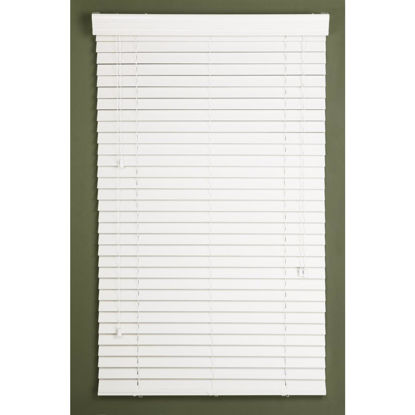 Picture of Home Impressions 52 In. x 64 In. White Faux Wood Corded Blinds