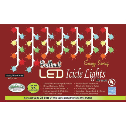Picture of J Hofert Multi 100-Bulb M5 LED Icicle Light Set with White Wire