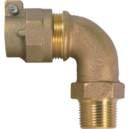 Picture of A Y McDonald 3/4 In. 90 deg Brass Elbow, MIP Polyethylene Pipe Connector