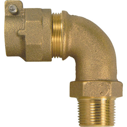 Picture of A Y McDonald 1 In. 90 deg Brass Elbow, MIP Polyethylene Pipe Connector