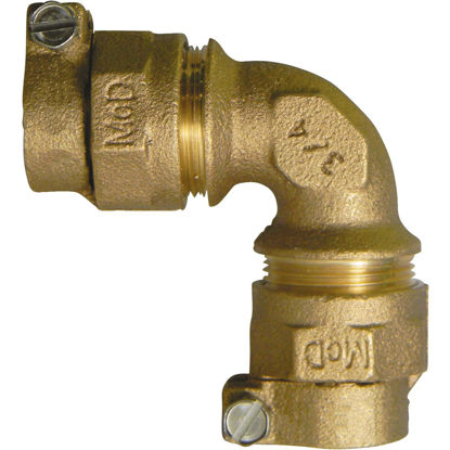 Picture of A Y McDonald 1 In. 90 deg Brass Elbow, CTS Polyethylene Pipe Connector