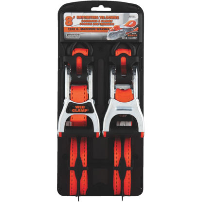 Picture of Erickson 1 In. x 8 Ft. Ratchet Strap with Web Clamp (2-Pack)