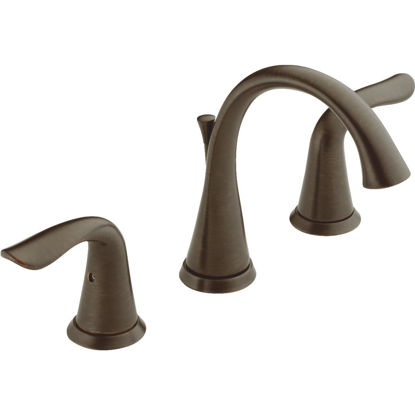 Picture of Delta Lahara Venetian Bronze 2-Handle Lever 8 In. Widespread Bathroom Faucet with Pop-Up