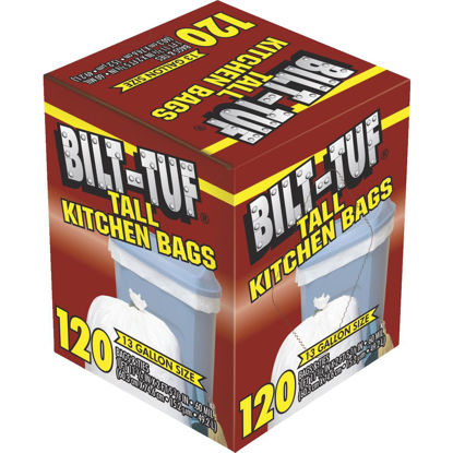Picture of Bilt-Tuf 13 Gal. Tall Kitchen White Trash Bag (120-Count)