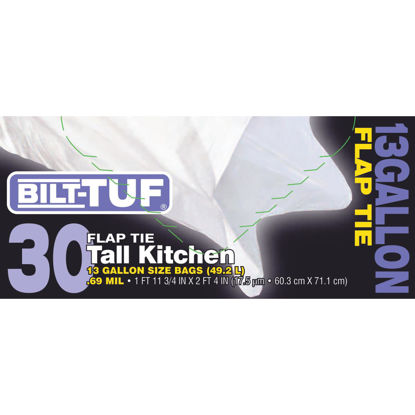 Picture of Bilt-Tuf 13 Gal. Tall Kitchen White Trash Bag (30-Count)