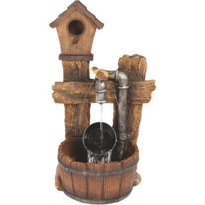 Picture of Best Garden 12 In. W. x 29 In. H. x 16 In. L. Resin Birdhouse Pail Fountain