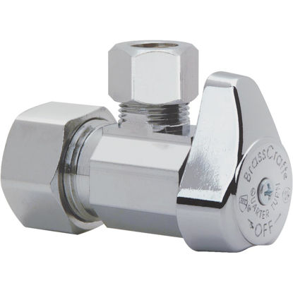 Picture of BrassCraft 5/8 In. FIP x 3/8 In. OD CMP Chrome-Plated Brass 1/4-Turn Shut-Off Angle Valve